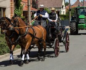 Angeführt wurde der Umzug durch ein Pferdegspann der Familie Wiegand